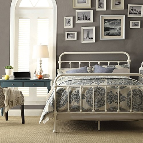 Inspire Q Modern Custom Antique White Graceful Lines Victorian Iron Metal King-Sized Bed