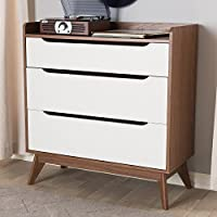 Baxton Studio Brighton 3 Drawer Chest in White and Walnut