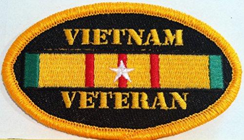 (VIETNAM VETERAN Emblem Embroidery Iron-On Patch Biker Emblem Gold Border)