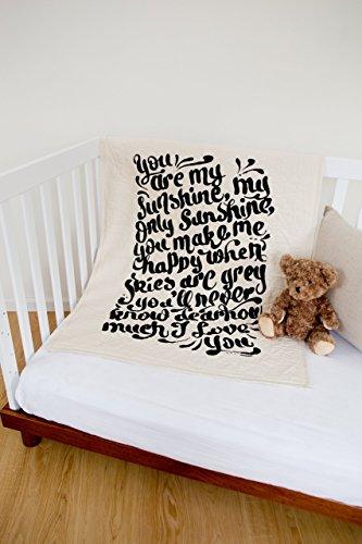 Sunshine Hand Lettered - Linen Crib Quilt - 36x45 by The Barn Social