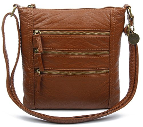 Vegan Leather Shoulder Handbag Purse Crossbody Eco Friendly by Ampere Creations (The Camile-Brown)