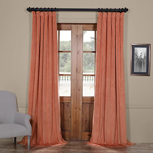 IYUEGO Pinch Pleat Solid Velvet Lining 90% Blackout Curtain Thermal Insulated Patio Door Curtain Panel Drape for Traverse Rod and Track, Desert Coral 120W x 102L Inch (Set of 1 Panel)