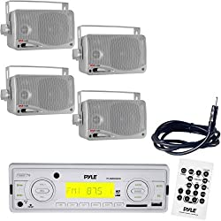 Pyle Marine Radio Receiver, Speaker and Cable Package - PLMR89WW IN-Dash Marine MP3 Player/Weatherband/USB & SD, MMC 2 Pairs of 3.5'' 200 Watt 3-Way Water Proof Mini Box Speaker System Silver PLMR24S