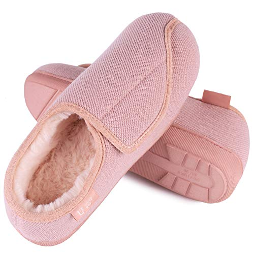 fdff22d1dd7084 chic LongBay Women's Furry Memory Foam Diabetic Slippers Comfy Cozy  Arthritis Edema House Shoes