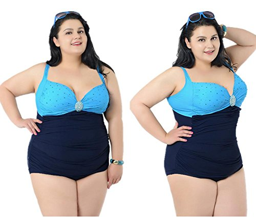 MIAO Siamese Swimsuit Fertilize Tamaño Grande Alta Cintura Con Cojín Del Pecho Reunirse Triángulo Traje De Baño Blue