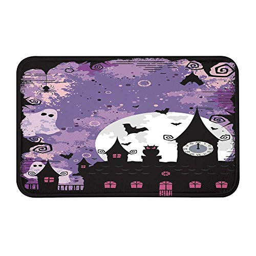 Vintage Halloween Comfortable Door Mat,Halloween Midnight Image with Bleak Background Ghosts Towers and Bats Decorative for Home Office,23