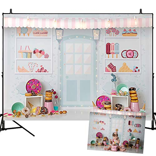 Mehofoto Dessert Shop Theme Backdrop Donut Decoration Ice Cream Girl Birthday Party Background 7X5Ft Vinyl Backdrops Studio Photography Props Birthday Party Decoration
