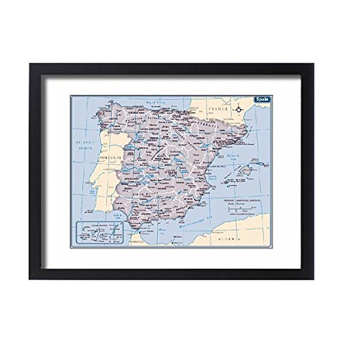 Framed 24x18 Print of Spain country map (14432419) by Media Storehouse