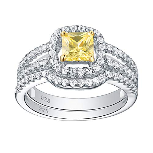 SHELOVES Canary Yellow Engagement Ring Wedding Set for Women Cubic Zirconia Sterling Silver Size 7