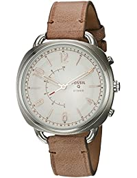 Women's Accomplice Stainless Steel and Leather Hybrid Smartwatch, Color: Silver, Brown (Model: FTW1200)