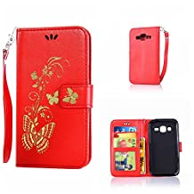 CUSKING Galaxy Core Prime Case, Leather Wallet Case for Samsung Galaxy Core Prime Magnetic Flip Folio Lifeproof Protective Skin Case Golden Butterfly Pattern Design Back Cover with Card Holder - Red