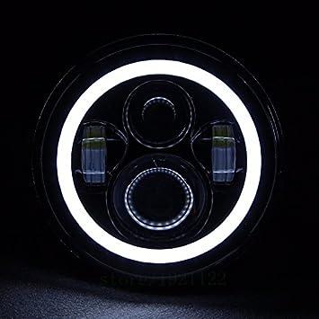 Anelli per staffa da 7 pollici accessori di montaggio per auto 4 pezzi 7Fari tondi a LED da 45W Fari Daymaker Hi//Lo con White Angel Eyes Halo anello DRL
