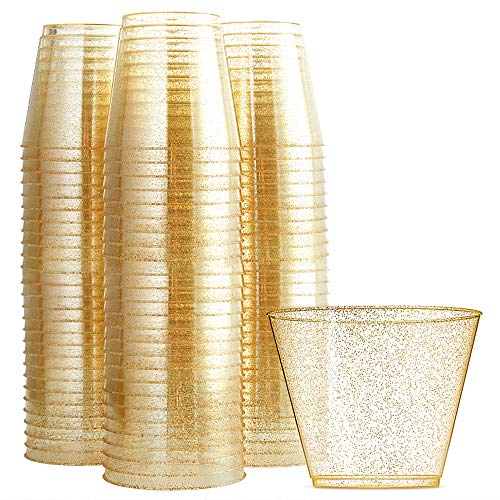 - WDF 200pcs 9OZ Gold Cups,Disposable Gold Glitter Plastic Cups-Premium Wedding Cups-Party Cups