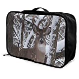 Travel Bags Whitetail Iowa Buck Deer Portable Storage Trolley Handle Luggage Bag