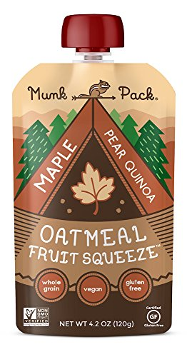 Munk Pack Oatmeal Fruit Squeeze | Maple Pear Vanilla | Ready-to-Eat Oatmeal On The Go | 4.2 oz Pouch, 6 ()