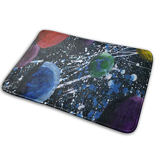 FunnyCustom Doormat Da Wonders of The Solar System Hot Non Slip Water Absorption Bath Rugs for Home