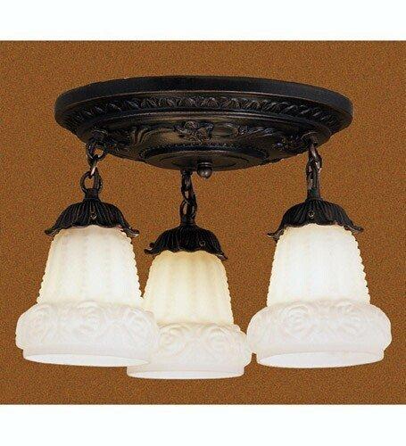 Meyda Tiffany Rose (White Puffy Rose 3-Light Shower Semi-Flush mount)