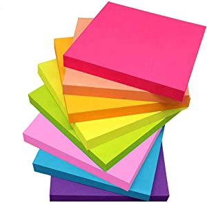 Cute Sticky Notes 3x3 inch 8 Pads/Pack, 100 Sheet/Pad, LOYAL SEA Bright Rainbow Colours Mini Self-Stick Notes Pads, Easy to Post for Planner, Home, Office, Notebook