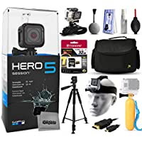 GoPro HERO5 Session CHDHS-501 with 32GB Ultra Memory + Large Padded Case + 60 Pro Series Tripod + Headstrap Mount + Floaty Bobber + HDMI Cable + Wrist Glove + Cleaning Kit