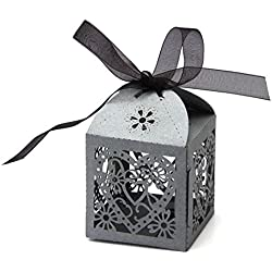 PONATIA 50 PCS 2.3 Inches Love Heart Laser Cut Candy Gift Boxes With Ribbon Wedding Party Favor (Sliver Grey)