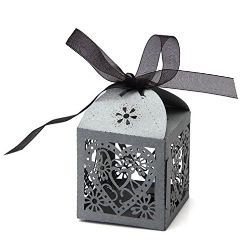 PONATIA 50 PCS Love Heart Laser Cut Candy Gift Boxes With Ribbon Wedding Party Favor (Sliver Grey)