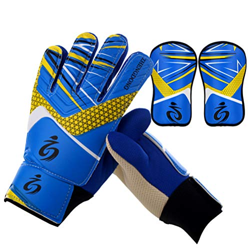 Goalkeeper Goalie Soccer Gloves Kids - Football Goal Keeper Gloves with Shin Guard, Embossed Anti-Slip Latex Palm and Soft PU Hand Back