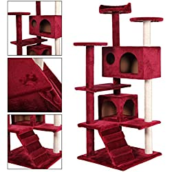 Cat Tree Tower Condo Furniture Scratch Post Kitty Pet House Play Red Wine New