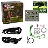 Tumbo Solo Slinger Outdoor Tough Hanging 50 ft Zipline Dog Toy (Uses Bungee Force to Sling The Rope Toy Back and Forth to The Center) Adjustable Length