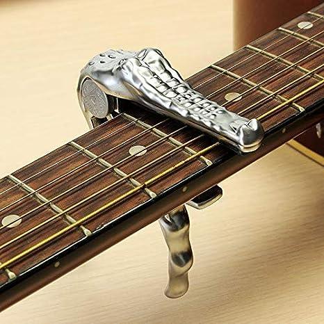 SILENCEBAN - Cejilla de gatillo de cocodrilo para guitarra eléctrica acústica banjo ukelele de cambio rápido color plateado: Amazon.es: Instrumentos ...