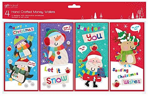 4 x Cute Hand Crafted Christmas Money Gift Card Voucher Wallets & Envelopes Giftmaker Collection
