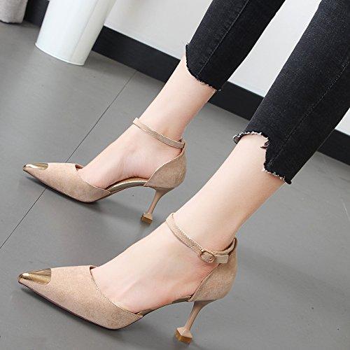 cabeza zapatos Shoes la metal de Xue vídeo femeninos delgado Heel con ranurado amarre hueco fino de high solo Beige punta Qiqi IPqxUS4