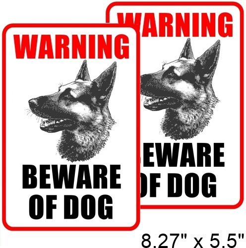 (2 Pack) 8.27' x 5.51' BEWARE OF DOG Window Door Wall Security Warning Alert Decal Sticker - Back Self Adhesive Vinyl