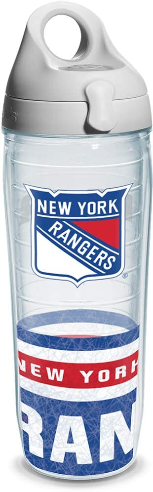 """Tervis 1145506""""NHL New York Rangers"""" Water Bottle with Grey Lid, Wrap, 24 oz, Clear"""