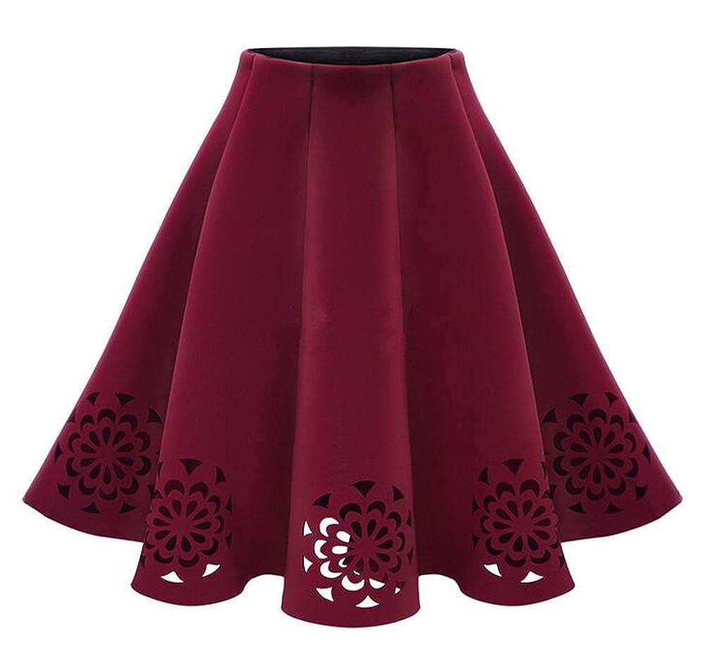 Bestfort Damen Hepburn Kleid Knielange Hohe Taille Schöne Kleider Frauen  Rock Hollow Lace A Linien Rock Faltenrock Röcke Sommerröcke  Amazon.de   Bekleidung decc590742