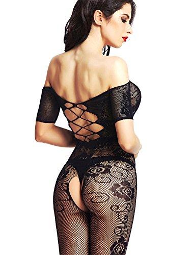 Amoretu Womens Strapless Lingerie Fishnet Bodysuits Crotchless Bodystocking Black Crotchless Bodystocking