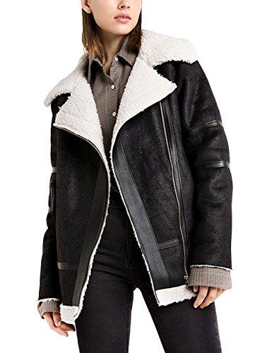 Notched Collar Shearling Coat - 5