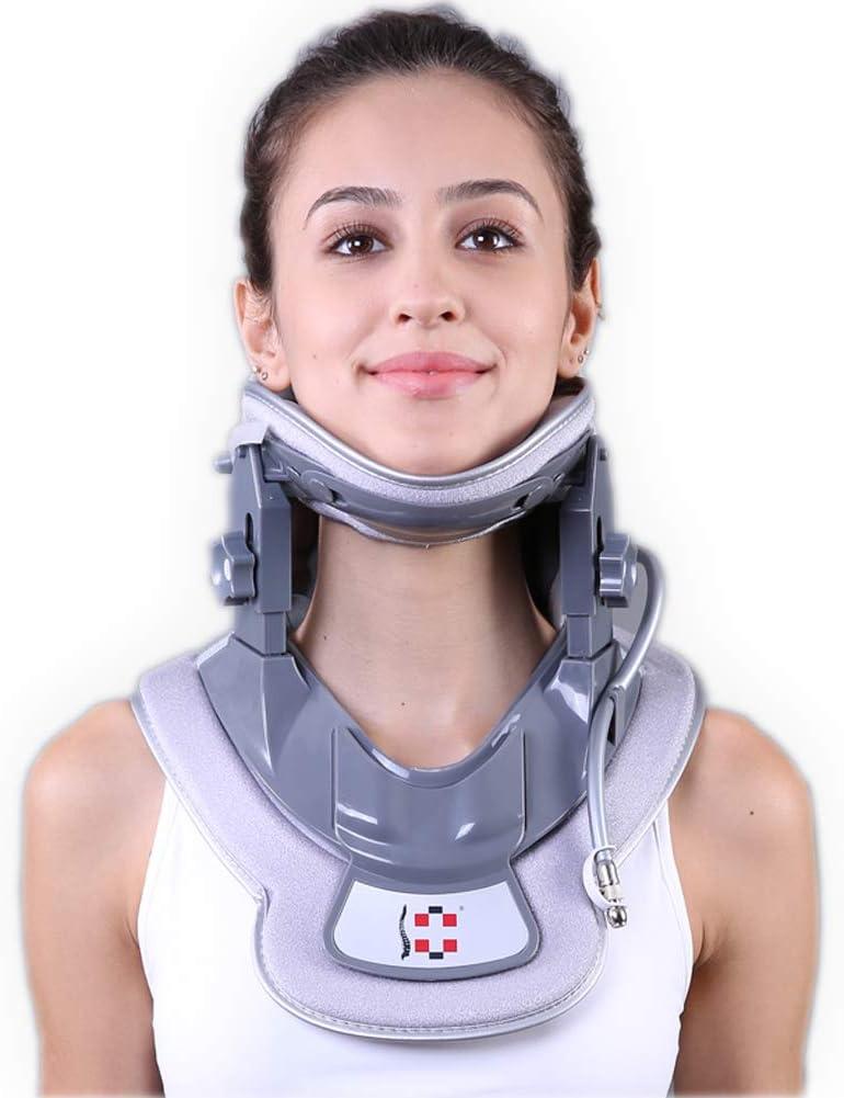 Cervical Neck Traction Device - Neck Brace & Collar - Neck & Shoulder Pain Relief - Stretcher Massager for Home Improved Spine Alignment(Black/Grey)