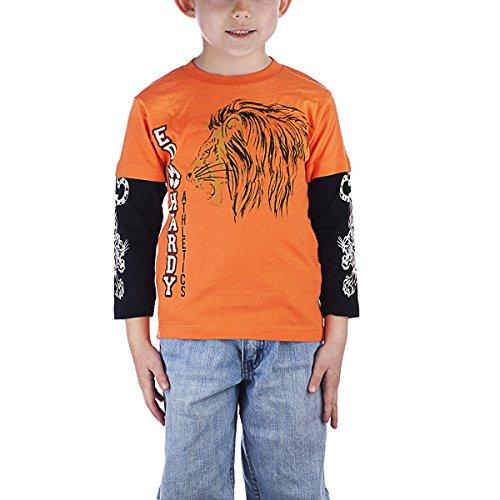Style Cap Hardy - Ed Hardy Little Boys' Toddlers Long Sleeve Cap Style T-Shirt - Orange - 3/4