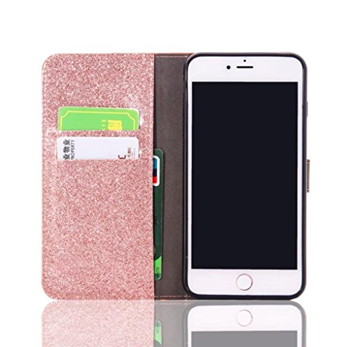 Stand Wallet Card Case Cover,Elaco Women Iphone Case For iPhone 6/6s 4.7 inch /For iPhone 6 Plus 5.5inch/ iPhone 7 4.7inch/iPhone 7 Plus 5.5inch (Rose…