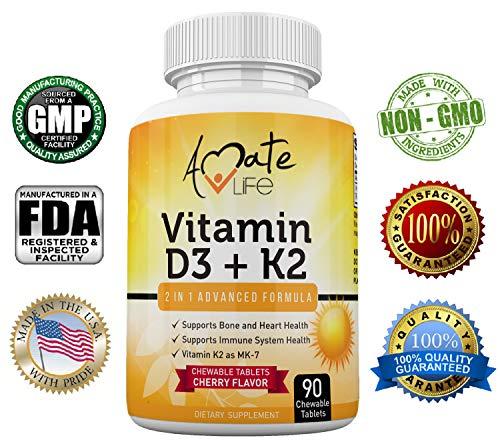 Amate Life Vitamin K2 D3 Supplement - Vitamin D3+K2 (MK7) Chewable for Bone Health, Heart Health & Immune System -Vitamin D3 2000IU & Vitamin K2(MK7) 75mcg for Women & Men 90 Chewable Vitamins Tablets