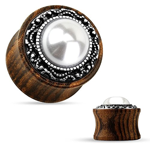 Tribal Pattern Casting around Imitation Pearl Center Organic Wood Saddle Plugs - Sold as Pairs (0G)