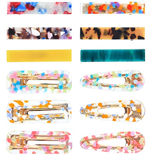 - 12 Pieces Women Hair Clip Set Resin Alligator Hair Clips Acetic Acid Hairpin Duckbill Leopard Print Clips for Women Girls