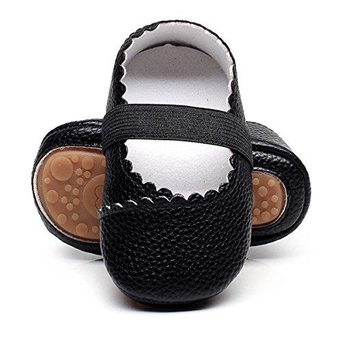 (HONGTEYA Girls Dance Ballet Mary Jane Flats Shoes Print Rubber Sole Bottom Baby Moccasins Sandals(6-12M/4.72inch,)