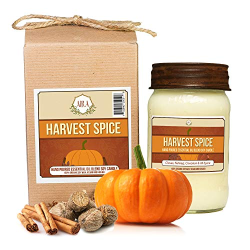 Aira Soy Candles - Organic, Kosher, Vegan, in Mason Jar w/Therapeutic Grade Essential Oils - Hand-Poured 100% Soy Candle - Paraffin Free, Burns 110+ Hours - Fall Candle - Harvest Spice -16 Ounces - Pure Soy Jar Candle