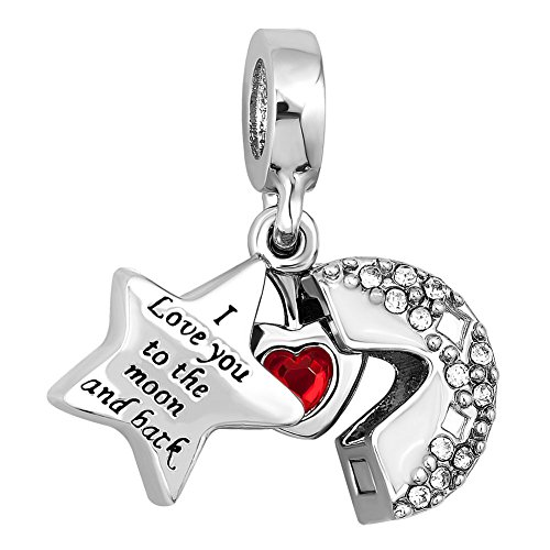 Sug Jasmin I Love You To The Moon And Back Charm Dangle Heart Beads For Bracelet (White 2)