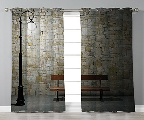 Fringe Mini Lamp - Satin Grommet Window Curtains,Street Decor,Modern Avenue at Dark Night with a Open Lamp and Bench and Stone Wall Behind Image,Multi,2 Panel Set Window Drapes,for Living Room Bedroom Kitchen Cafe