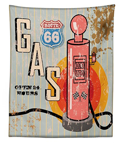 (Lunarable Route 66 Tapestry Twin Size, Grunge Retro Gas Station Sign Fuel Vintage Destinations Poster Artsy Old Graphic, Wall Hanging Bedspread Bed Cover Wall Decor, 68 W X 88 L inches, Multicolor)