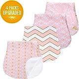 Baby Burp Cloths Set for Girls Premium 100% Organic...