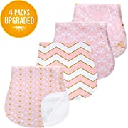 Baby Burp Cloths Set for Girls Premium 100% Organic Cotton Absorbent Triple Layer Towels Burping Rags Pads for Newborns, Baby Shower