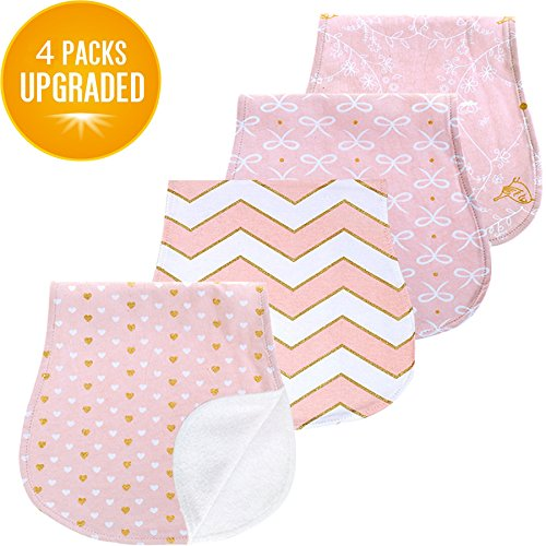 Baby Burp Cloth Set (Baby Burp Cloths Set for Girls Premium 100% Organic Cotton Absorbent Triple Layer Towels Burping Rags Pads for Newborns, Baby Shower)